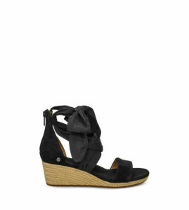 UGG Women's Trina Wedge Sandal in Black, Size 6, Suede