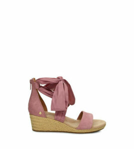 UGG Women's Trina Wedge Sandal in Pink Dawn, Size 9, Suede
