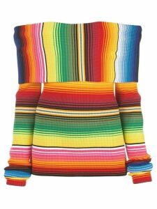 Carolina Herrera off-the-shoulder striped knitted top - Multicolour