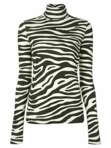 Proenza Schouler White Label Zebra Print Jersey Long Sleeve Turtleneck