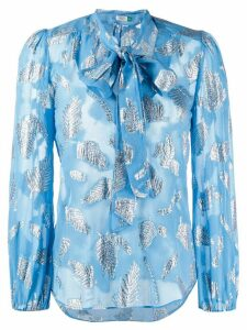 Rixo leaf print bow tie blouse - Blue