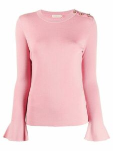 Tory Burch rhinestone-embellished bell-sleeves pullover - Pink