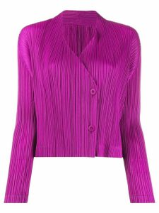Pleats Please Issey Miyake pleated long-sleeve cardigan - Purple