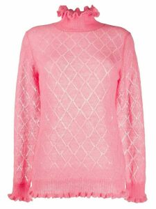 Undercover diamond-knit turtle neck jumper - PINK