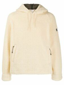Napapijri logo patch fleece hoodie - White