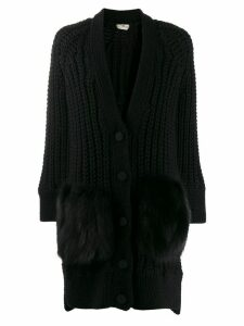 Fendi fur panel chunky-knit cardigan - Black