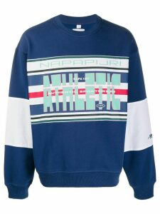 Napapijri logo print colour blocked sweatshirt - Blue