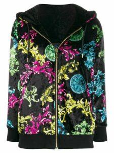 Versace Jeans Couture baroque-print velvet jacket - Black
