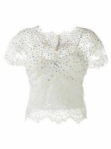 Ermanno Scervino stud-embellished lace blouse - White
