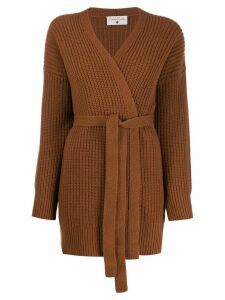 Danielapi wrap-style knit cardigan - Brown