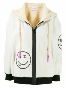 Natasha Zinko Smiles print zip-up hoodie - NEUTRALS