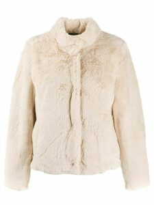 Lauren Ralph Lauren faux-fur fitted jacket - White