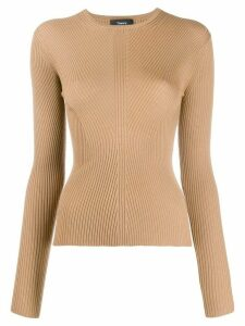 Theory round neck ribbed knit sweater - Brown