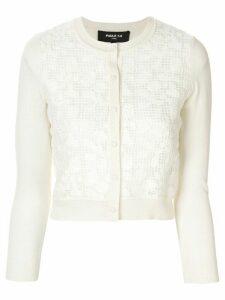 Paule Ka crochet lace cropped cardigan - White
