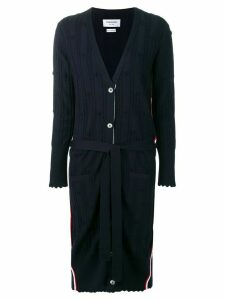 Thom Browne flower cable knit long cardigan - Blue