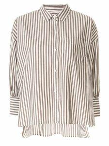 Nili Lotan striped 3/4 sleeve shirt - Brown
