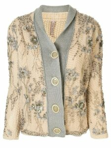 Antonio Marras embellished knitted cardigan - Brown