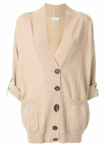 Brunello Cucinelli oversized grosgrain-trimmed cardigan - Brown