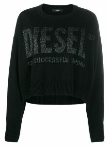 Diesel intarsia logo cropped jumper - Black