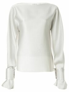 Christopher Esber slit long-sleeve blouse - SILVER