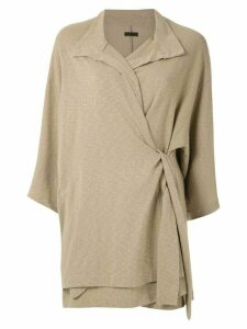 Osklen overlap side collar cardigan - NEUTRALS