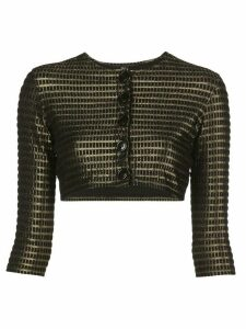 Lisa Marie Fernandez metallic cropped cardigan - Black