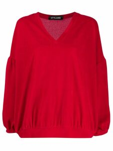 Styland v-neck fleece jumper - Red