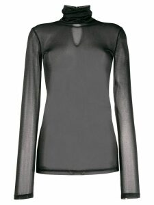 Styland turtle neck sheer top - Black