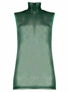 Styland sheer turtle neck top - Green