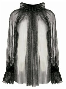 Styland shimmer sheer blouse - Black
