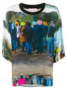Natasha Zinko Emoji Line-print boxy-fit T-shirt - Blue