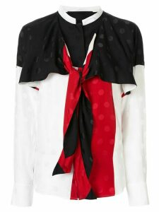 Haider Ackermann drape neck colour block blouse - White