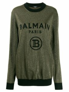 Balmain logo embroidered jumper - Green