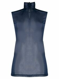 Styland shimmer sheer top - Blue