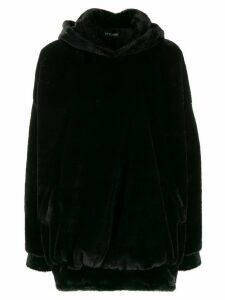 Styland faux fur oversized hoodie - Black