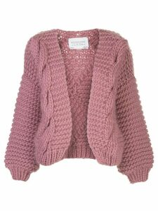 I Love Mr Mittens contrast knit open front cardigan - PINK
