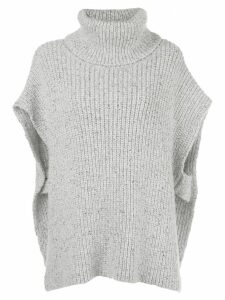 Adam Lippes roll neck knitted poncho - Grey