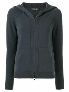 Loro Piana hooded bomber cardigan - Blue