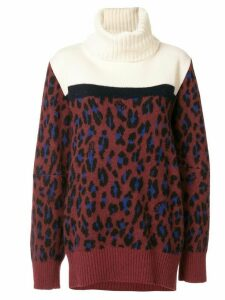 Sacai leopard print roll neck jumper - Red