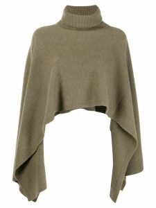Pringle of Scotland asymmetric hem roll neck poncho - Green