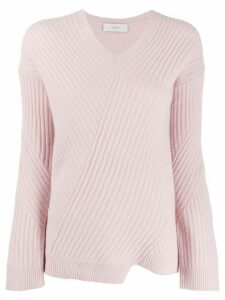 Pringle of Scotland asymmetric ribbed knit sweater - PINK