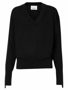 Burberry Logo Detail Merino Wool Silk Sweater - Black