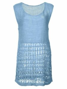 Voz perforated knit tank top - Blue