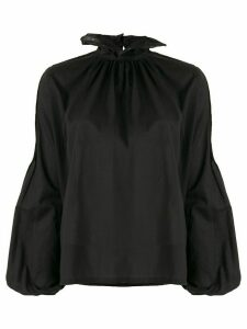 Wandering long-sleeve ruffle blouse - Black