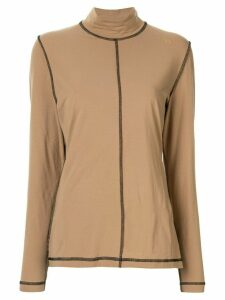 GANNI exposed seam shirt - Brown