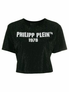 Philipp Plein SS -23 Crystal crop T-shirt - Black