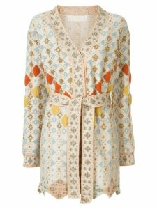 Peter Pilotto solitaire belted wrap cardigan - NEUTRALS