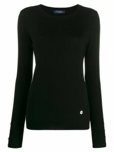 Trussardi Jeans long sleeve button cuff top - Black