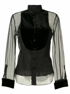 Ralph Lauren Collection contrast bib sheer shirt - Black