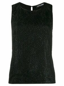 Styland embellished lace tank top - Black